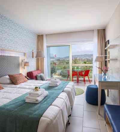 Elegant twin/double room at Leonardo Laura Beach & Splash Resort with inland view